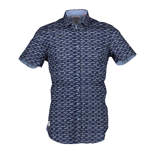 A fish named Fred navy short sleeve overhemd met visdessin