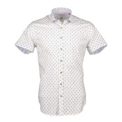 A fish named Fred wit short sleeve overhemd met ijsjes dessin White