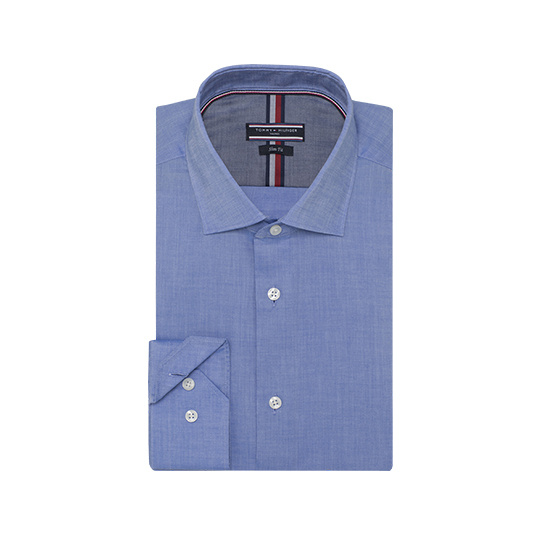 Tommy Hilfiger Tailored blauw chambray overhemd