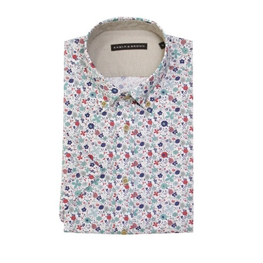 Eagle & Brown overhemd casual wit korte mouwen met print Multicolour