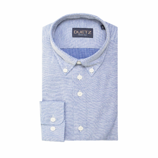Duetz 1857 casual overhemd brushed Middenblauw