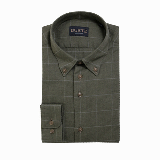Duetz 1857 casual overhemd brushed Middengroen