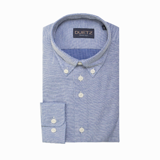 Duetz 1857 casual overhemd brushed Donkerblauw