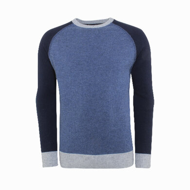 Duetz1857 trui colorblocking Middenblauw
