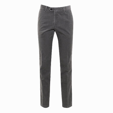 Duetz Tailors 1857 broek in stretch minicord stretch lichtgrijs uni