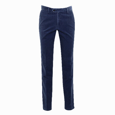 Duetz Tailors 1857 broek in stretch minicord stretch Middenblauw