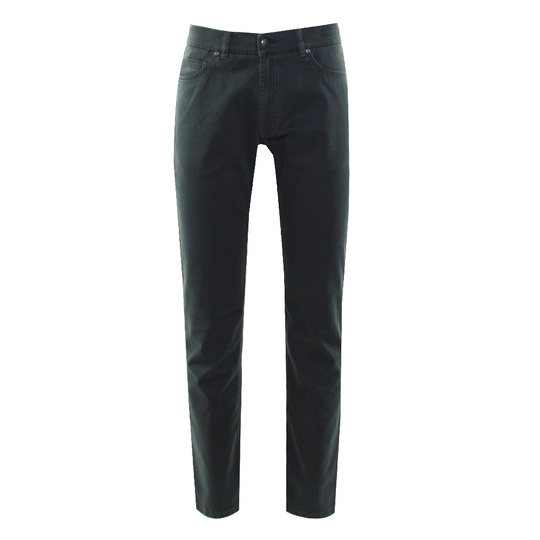 Adam 5-pocket in katoen stretch bladgroen uni