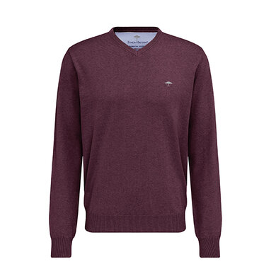 Fynch Hatton pullover ronde hals donkerrood/donkerrood