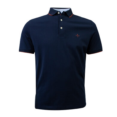 Duetz 1857 polo korte mouw tipping Dark blue