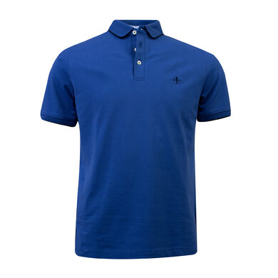 Duetz 1857 polo korte mouw tipping Medium blue