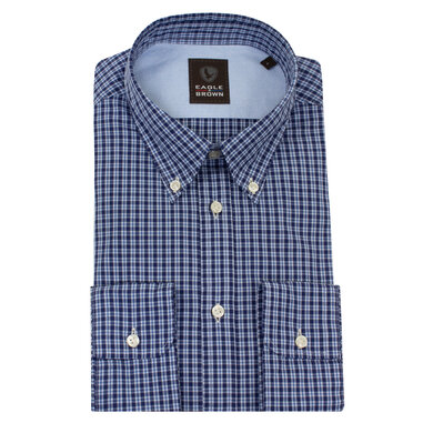 Eagle & Brown overhemd casual ruitje donkerblauw Ruit blauw