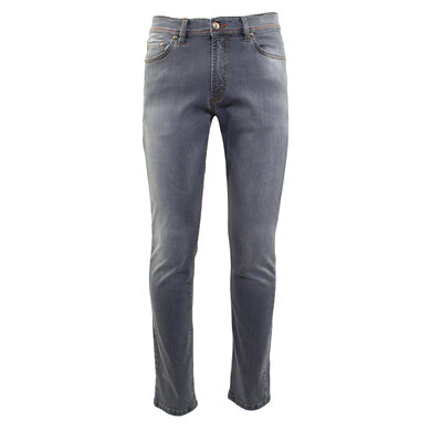 Duetz Tailors 1857 5-pocket jeans in stretch denim lichtgrijs uni