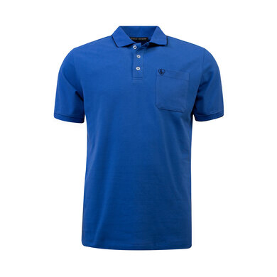 Eagle & Brown Polo Basic Korte Mouw middenblauw uni
