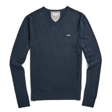 V-neck sweater in cotton silk blend Classic Navy