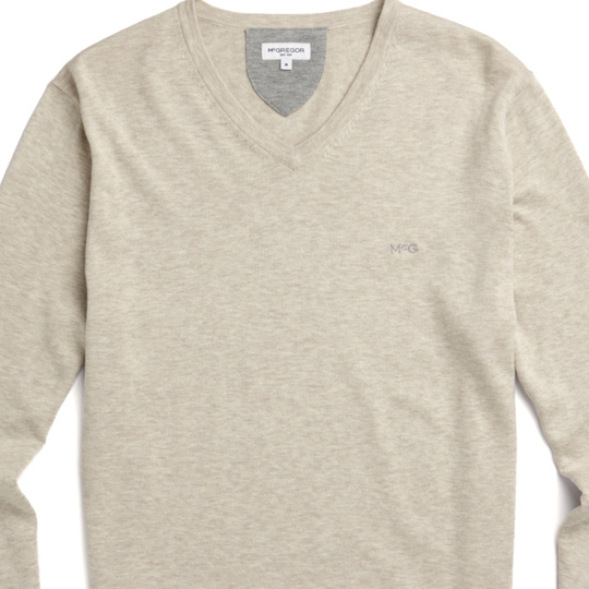 McG V-neck sweater in cotton silk blend Seashell