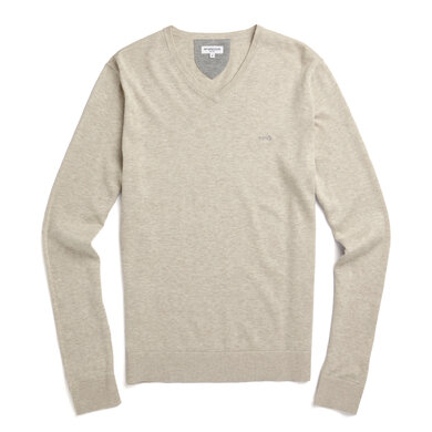 V-neck sweater in cotton silk blend Seashell