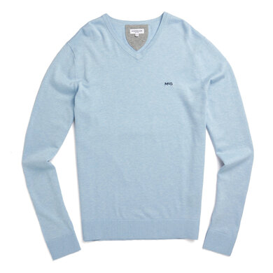 V-neck sweater in cotton silk blend Shirt Blue