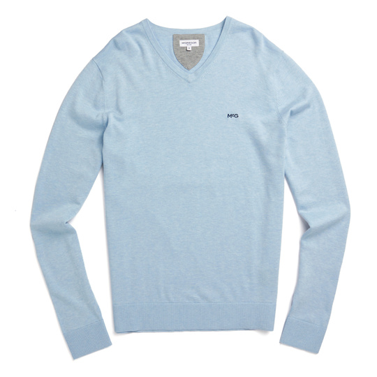 McG V-neck sweater in cotton silk blend Shirt Blue