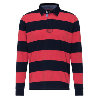 Fynch Hatton Polo Lange Mouw Gestreept Navy-coral