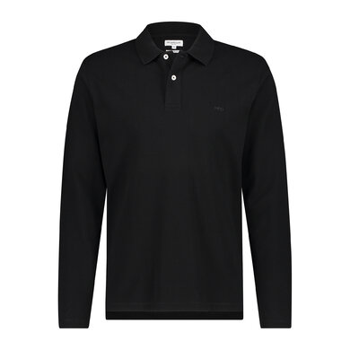 Regular fit pique polo longsleeve Black