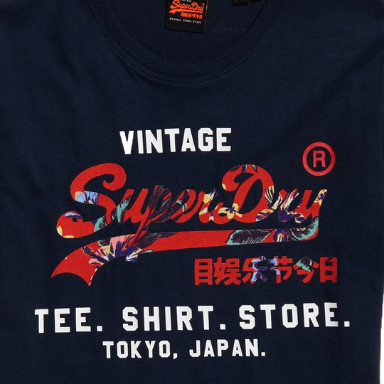 Superdry M-Knit T-Shirt of Cotton Navy