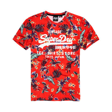Superdry M-Knit T-Shirt of Cotton Red