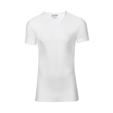 Slater T-shirt Stretch V-hals 2-pack Wit White