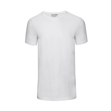 Slater T-shirt Basic Ronde Hals 2-pack Wit White