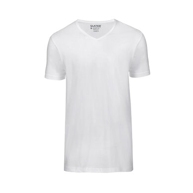 Slater T-shirt V-hals Basic 2-pack Wit White