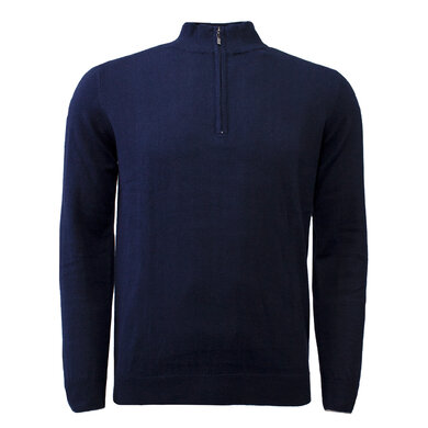 Duetz 1857 zip trui in Cotton Cashmere Dark blue