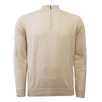 Duetz 1857 zip trui in Cotton Cashmere Beige