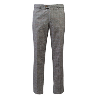 Eagle & Brown stretch katoenen chino ruit Bruin