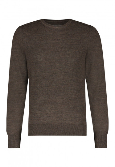 State of Art pullover ronde hals gemêleerd donkerbruin uni