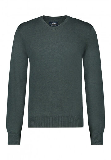 State of Art pullover v-hals donkergroen/donkerblauw