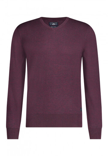 State of Art pullover v-hals wijnrood/donkerantracit