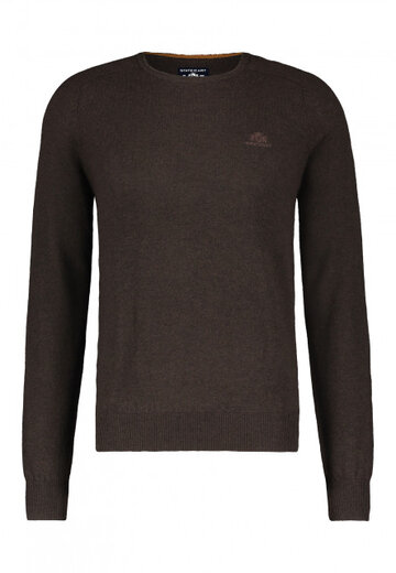 State of Art pullover ronde hals donkerbruin uni