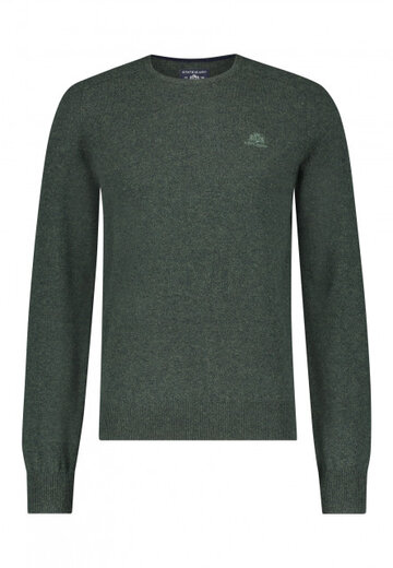 State of Art pullover ronde hals donkergroen uni