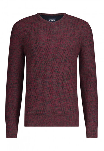 State of Art pullover mouliné donkerblauw/wijnrood