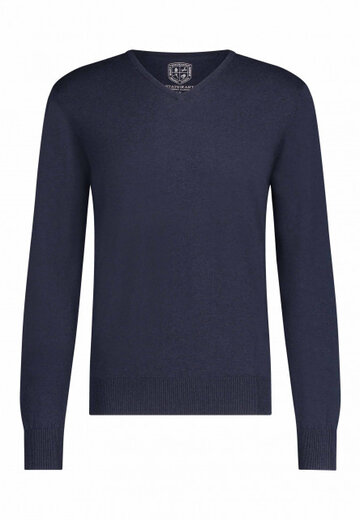 State of Art pullover v-hals donkerblauw uni