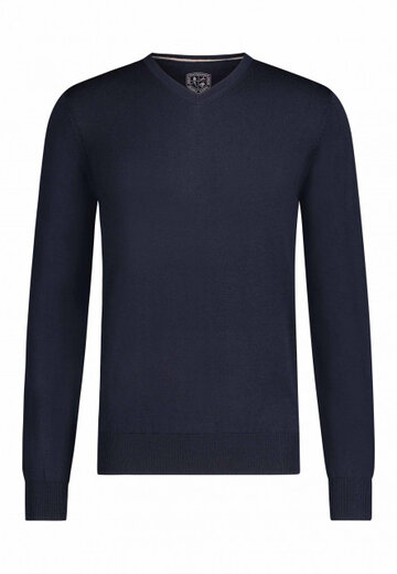 State of Art pullover v-hals donkerblauw donkerblauw uni
