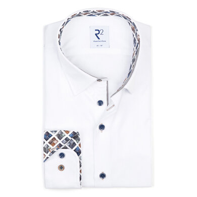 R2 Overhemd Twill Button Down Wit Wit