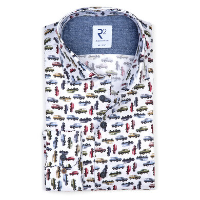 R2 Overhemd Twill Widespread Print Wit Multicolor