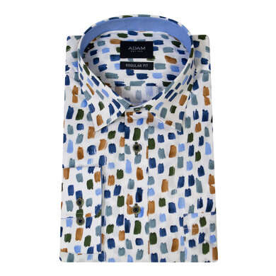 Adam Overhemd Casual Under Buttondown Print Strepen Multicolor