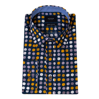 Adam Overhemd Casual Under Buttondown Stippenprint Blauw Multicolor