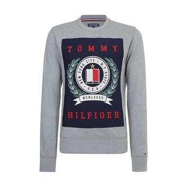 Tommy Hilfiger Grijze Trui met Logo Medium grey