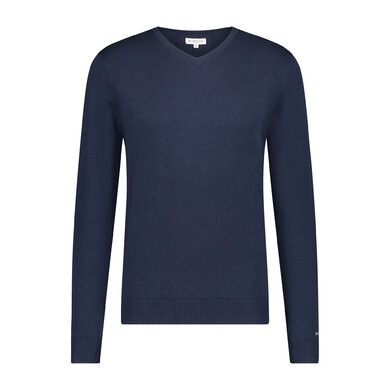 Essential V-neck Sweater in wool blend Bright Navy