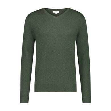 Essential V-neck Sweater in wool blend Cypress Green