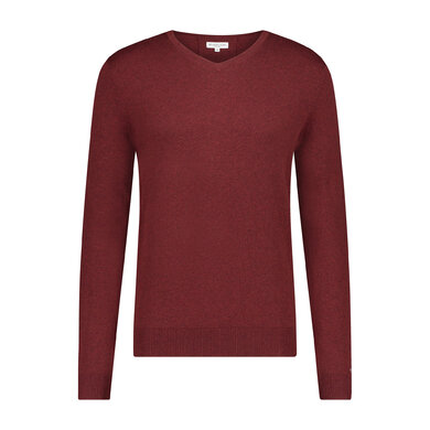 Essential V-neck Sweater in wool blend Brick red