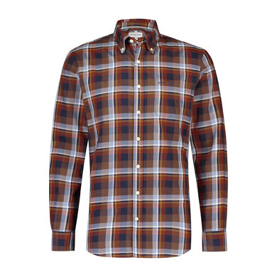 Regular fit orange check shirt Squash Orange
