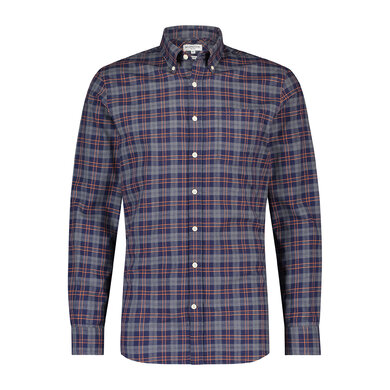 McGregor Regular fit overhemd met windowpane ruit Rock Grey